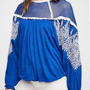 Free People Carly Embroidered Top